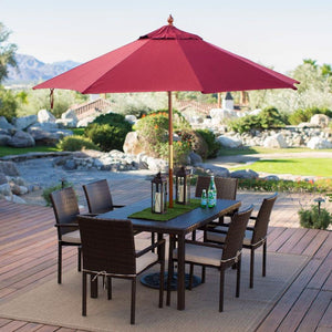 Commercial Grade 9-Ft Wood Market Umbrella with Burgundy Red Sunbrella Canopy