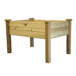 Elevated 2Ft x 4-Ft Cedar Wood Raised Garden Bed Planter Box - Unfinished