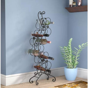 Wrought Iron 12-Bottle Wine Rack with Grape Leaves Vines Design