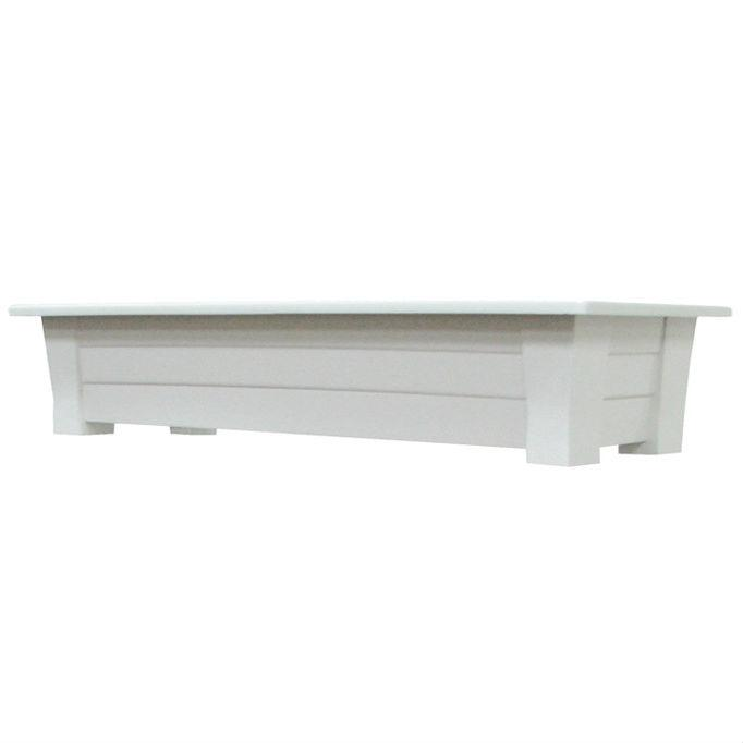 Lightweight Durable Plastic Resin Rectangular Garden Planter in White
