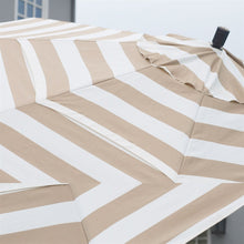 Load image into Gallery viewer, Beige and White Stripe 7.5-Ft Collar Tilt Patio Umbrella with Crank