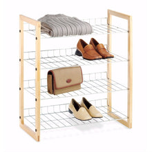 Load image into Gallery viewer, 4-Shelf Closet Shoe Rack with Natural Wood Frame and Chrome Wire Shelves