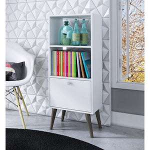 White Mid-Century Modern Style Bookcase with Storage Drawer