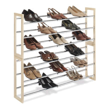 Load image into Gallery viewer, 3-Tier Stackable & Expandable Shoe Rack in Wood & Chrome Metal