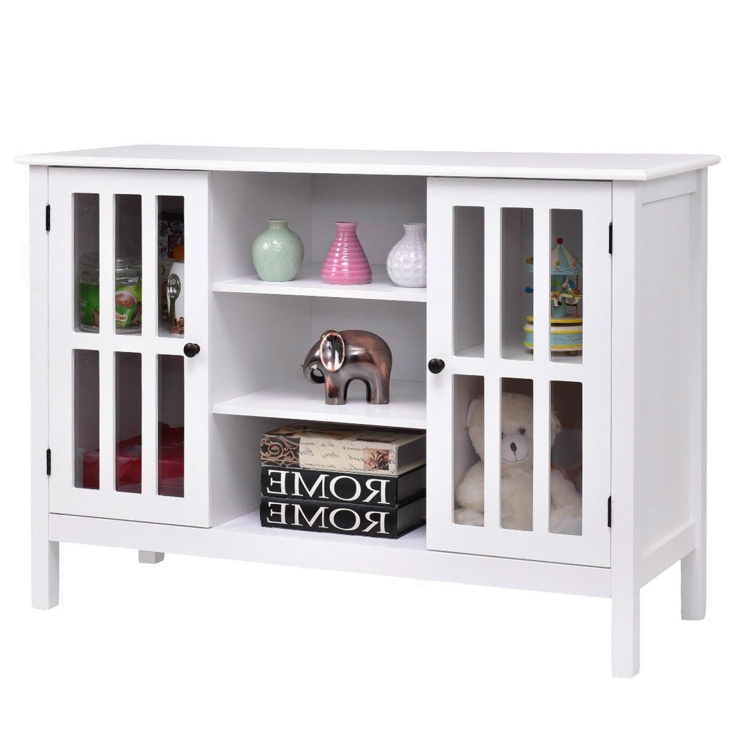 White Wood Sofa Table Console Cabinet with Tempered Glass Panel Doors