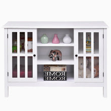 Load image into Gallery viewer, White Wood Sofa Table Console Cabinet with Tempered Glass Panel Doors