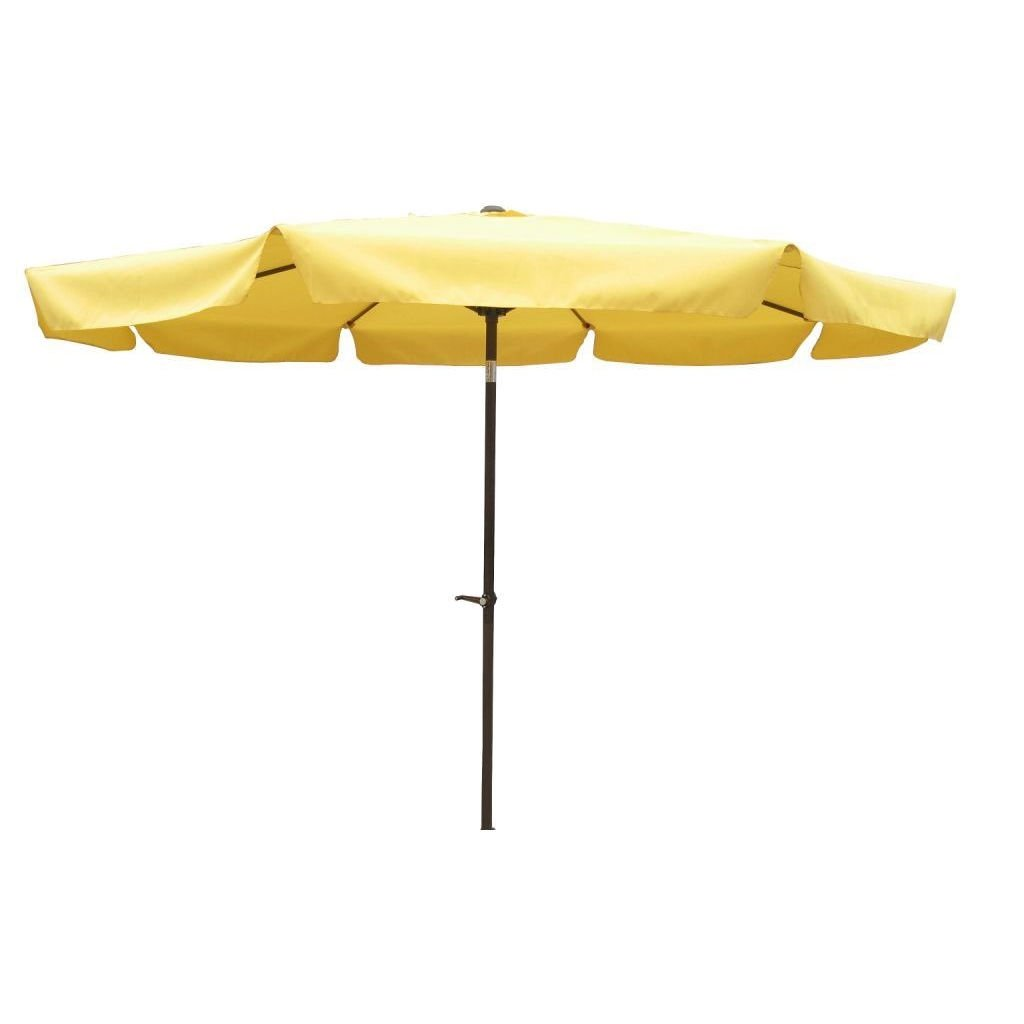 Yellow 10-FT Crank Lift Patio Umbrella with Aluminium Pole