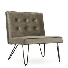 Load image into Gallery viewer, Gray Velvety Soft Upholstered Polyester Accent Chair Black Metal Legs