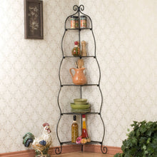 Load image into Gallery viewer, Corner Bakers Rack 5-Tier Shelves with Decorative Metal Scrollwork