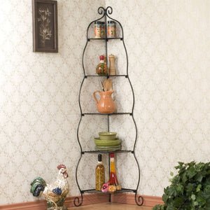Corner Bakers Rack 5-Tier Shelves with Decorative Metal Scrollwork