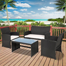 Load image into Gallery viewer, Black Resin Wicker 4-Piece Outdoor Patio Furniture Set with White Padded Seat Cushions