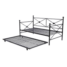 Load image into Gallery viewer, Twin size Contemporary Daybed and Trundle Set in Black Metal Finish