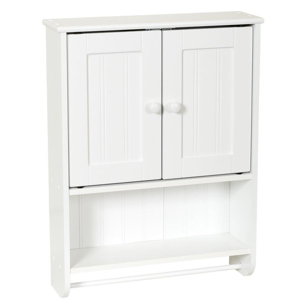 Wall Mount Bathroom Cabinet with Towel Bar in White Finish