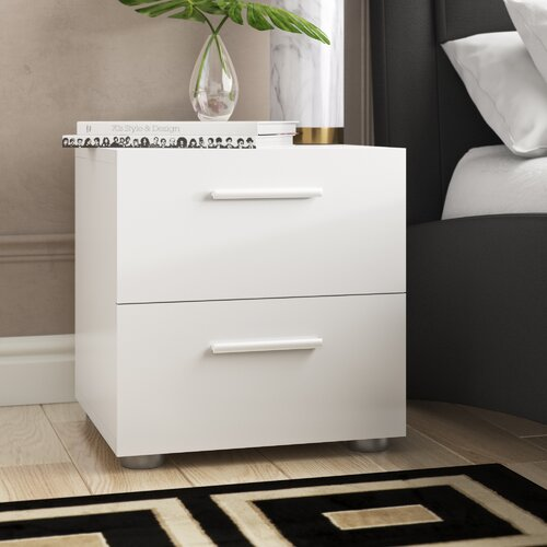 White Modern Bedroom 2-Drawer Night Stand