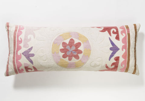Suzani Pillow - Pink & Purple Flower