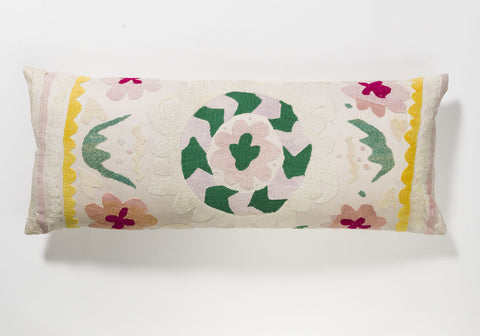 Suzani Pillow - Pink & Green Flower