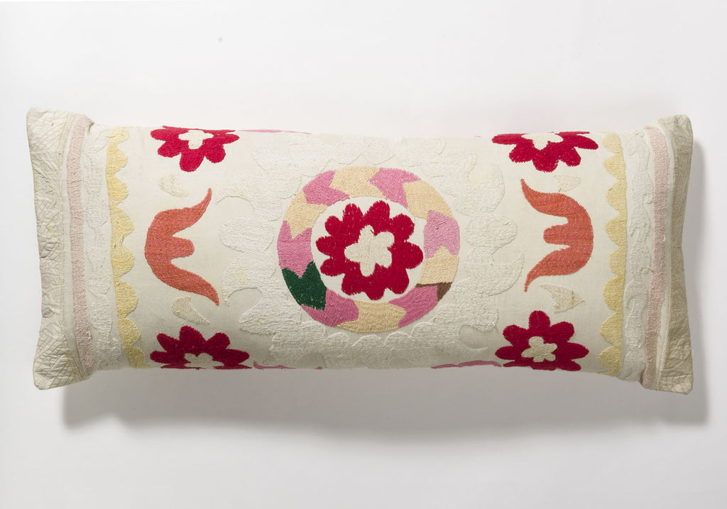 Suzani Pillow - Red Flower