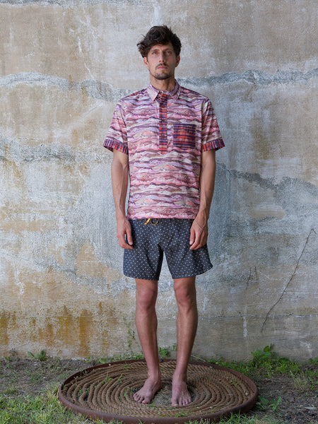 Solarized Combo Print Popover Shirt - Pink