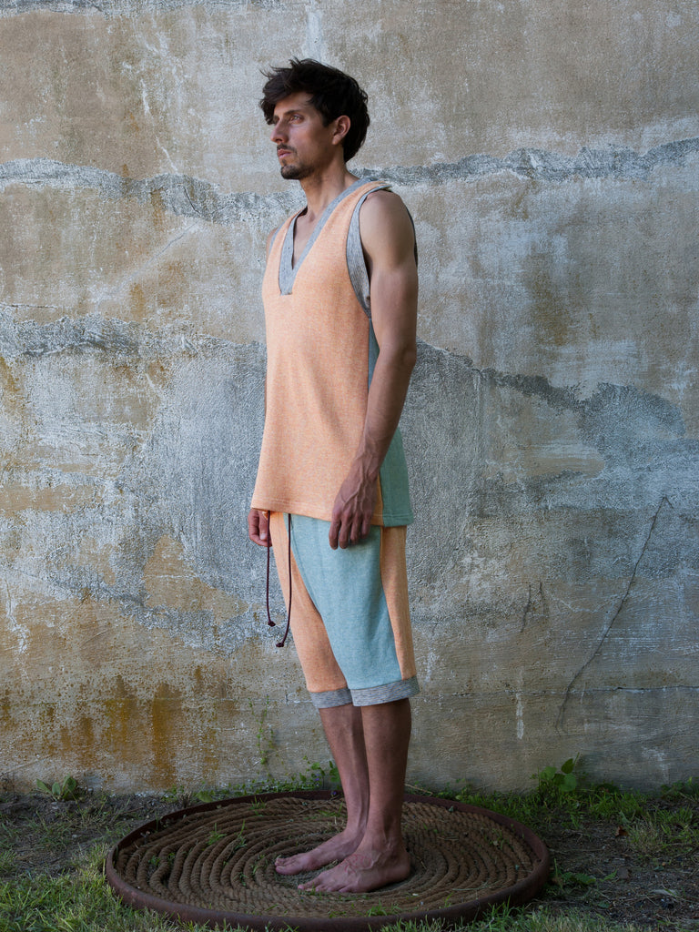 Silk Jersey Combo Beach Shorts - Aqua & Orange