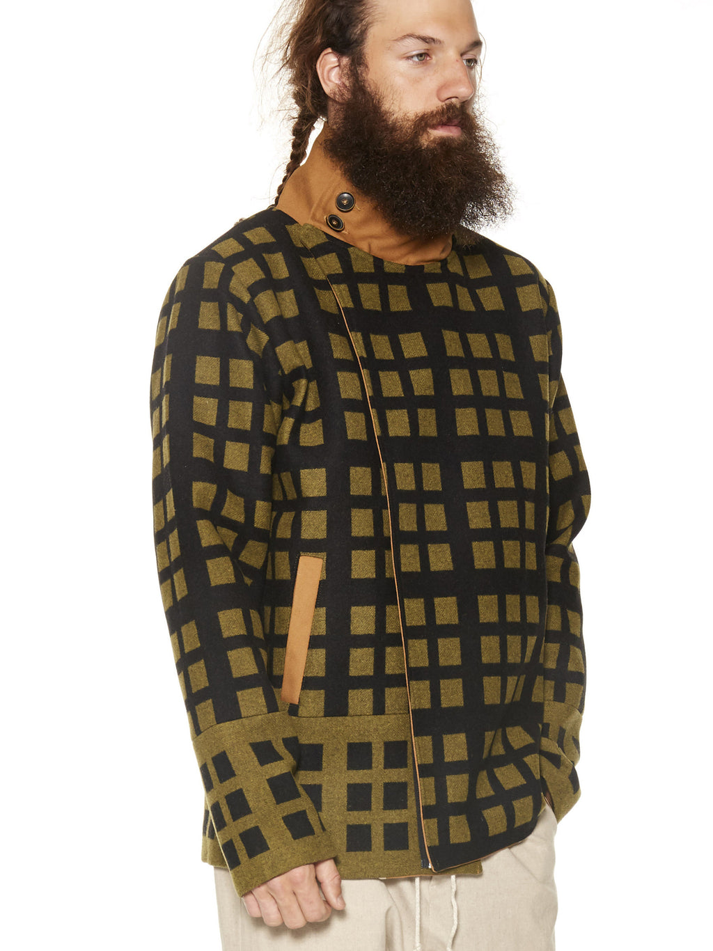 Asymmetric Grid Wool Bomber