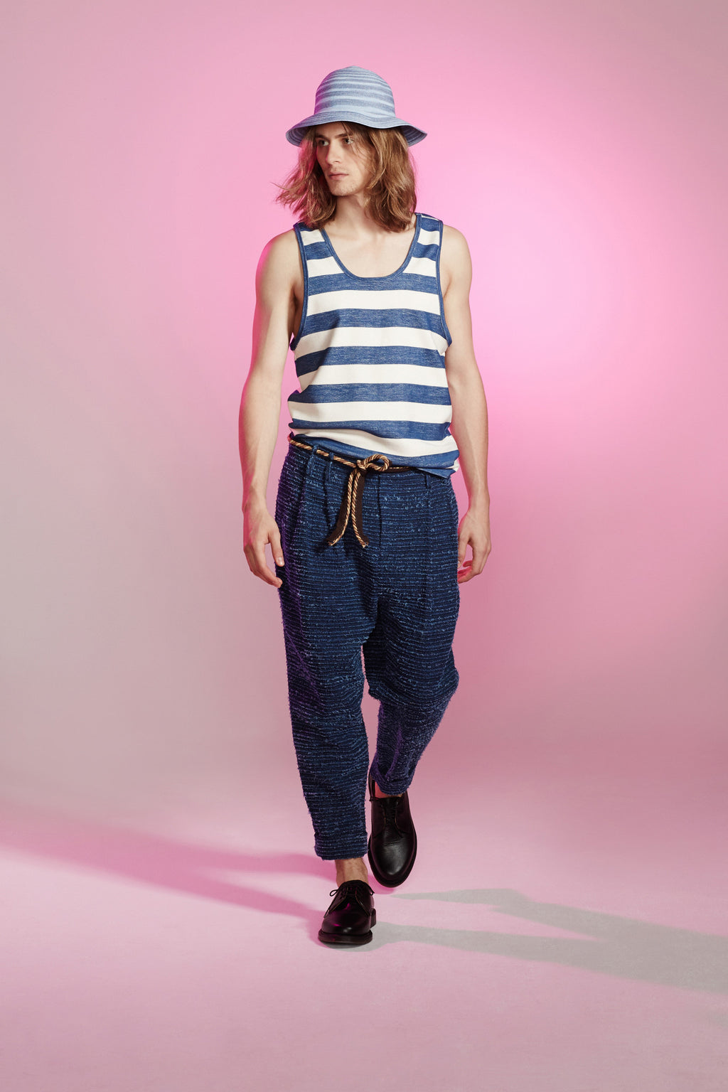 Fray Indigo Pleated Drop Pant