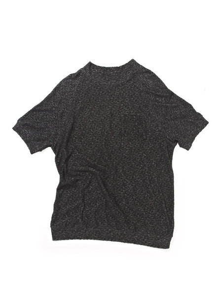 Jacquard Terry Mock Neck - Black
