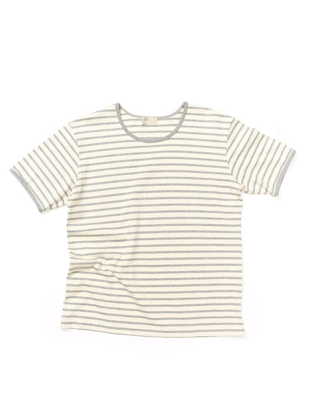 Boat Neck Tee - Grey Stripe