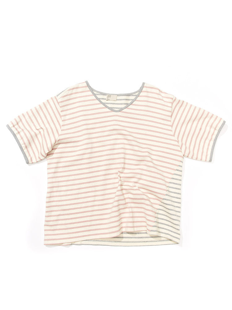 Side Slant Slouchy Tee- Grey & Pink Stripe