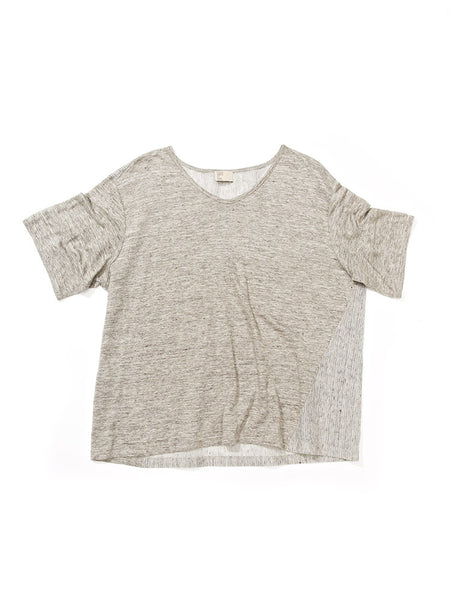Side Slant Slouchy Tee- Grey