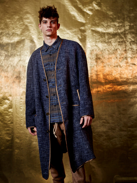 Indigo Basketweave Coat