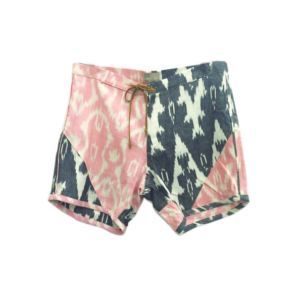 Ikat Board Shorts - Black & Pink
