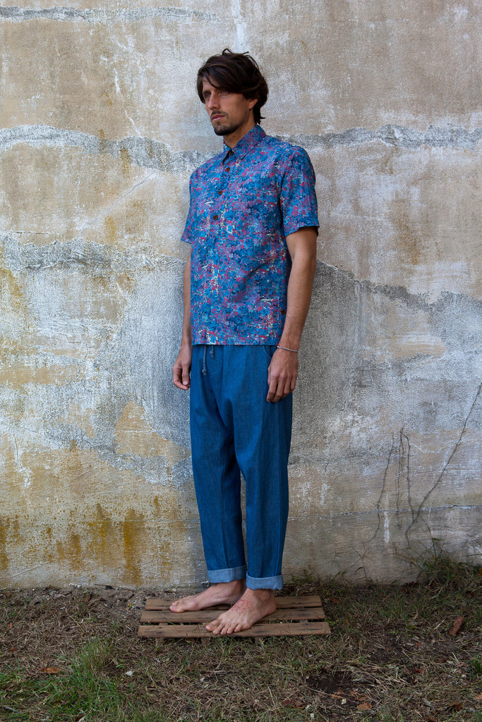 Leaf Print Popover Shirt- Blue