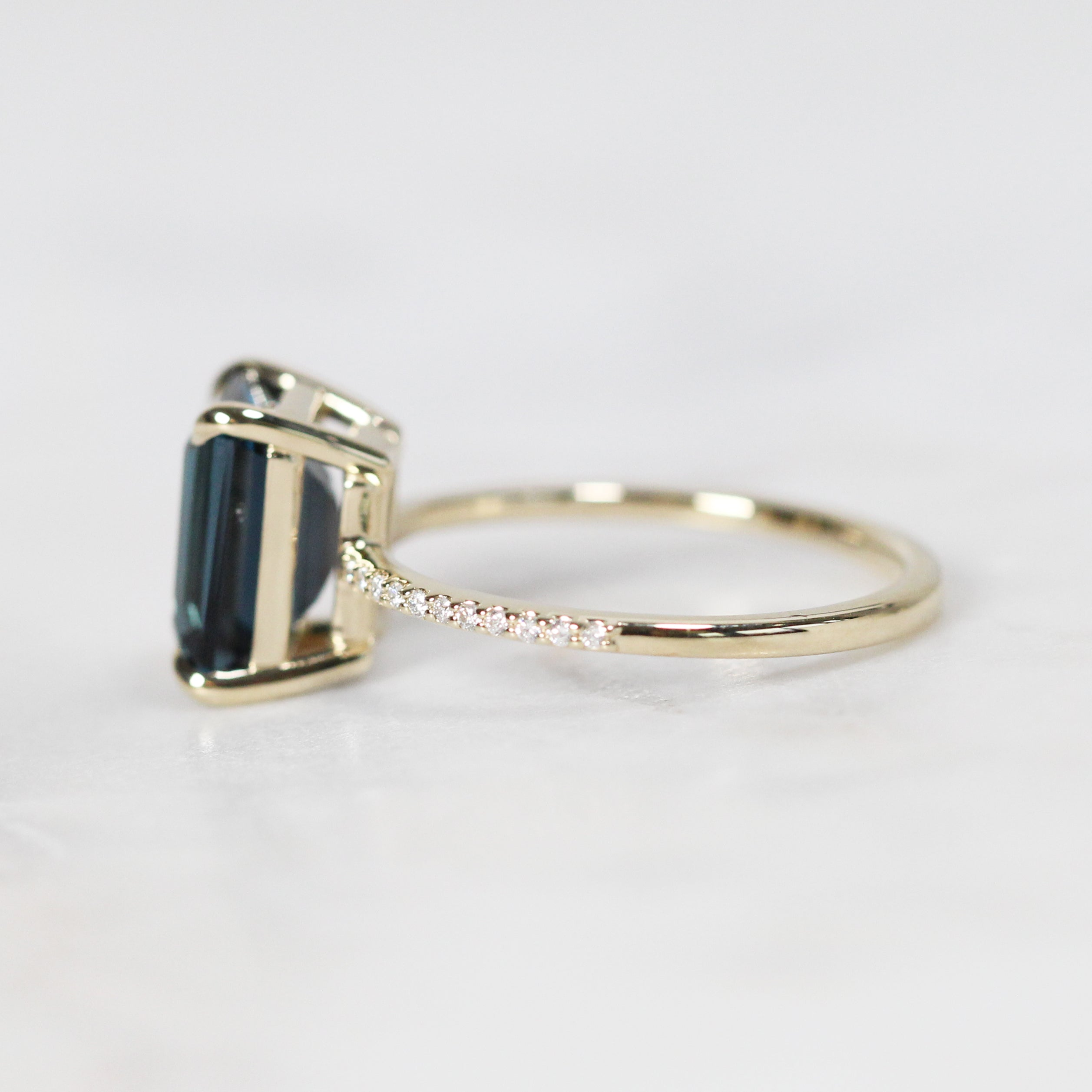 Mia Ring with 3.75ct London Blue Topaz Emerald Cut - Custom Made to Order - Celestial Diamonds ® by Midwinter Co.