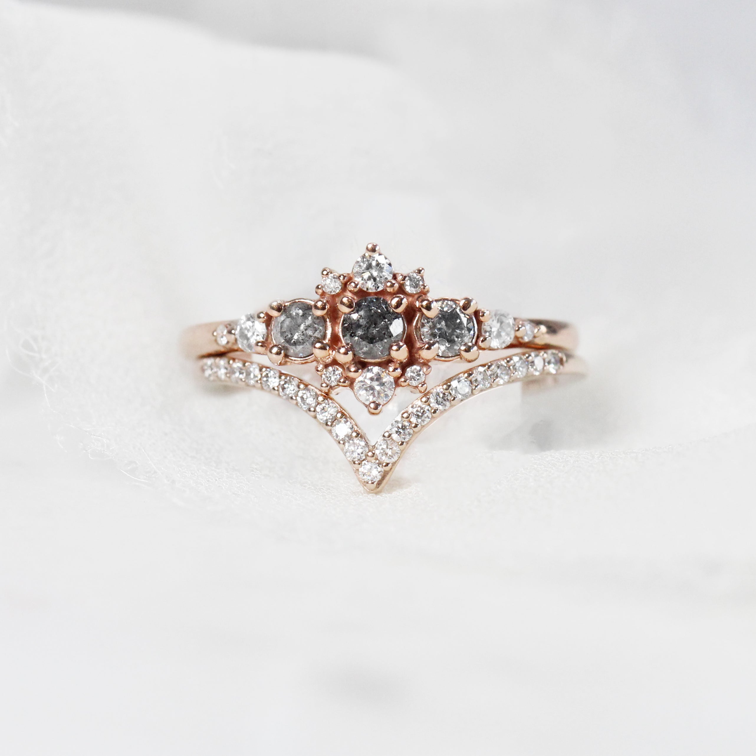 Victoria Ring with Three Celestial Gray Diamonds - Your choice of gold - Custom - Salt & Pepper Celestial Diamond Engagement Rings and Wedding Bands  by Midwinter Co.