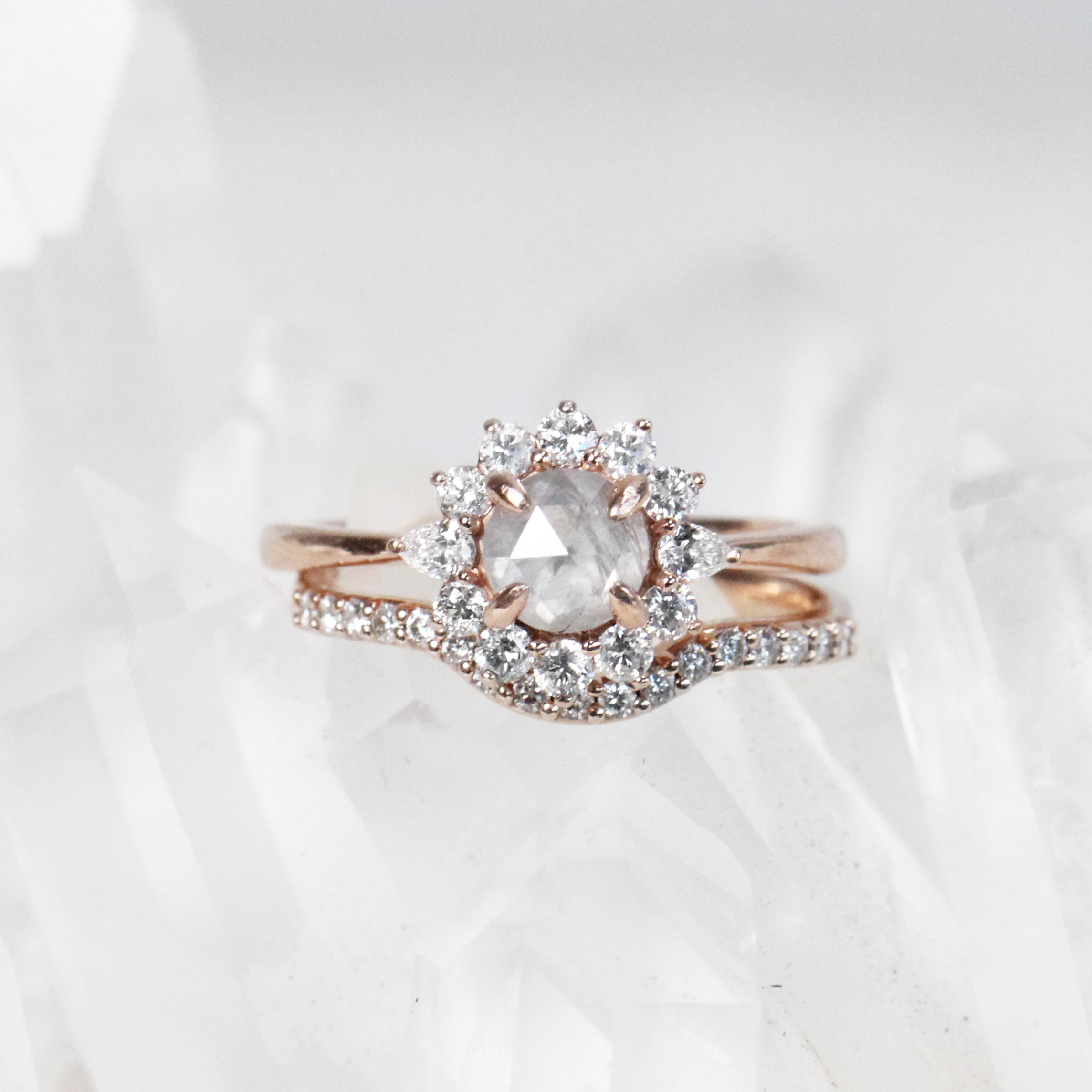 Dahlia Ring with .74 Carat Round Celestial Diamond in 10k Rose Gold