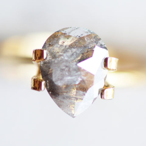 1.29 carat gray pear diamond - for custom work - inventory code: GrayP129
