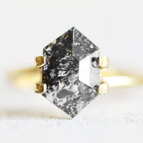 1.89 hexagon black and clear diamond for custom work - Inventory code Hex189