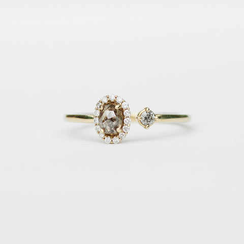 Celeste - Halo stone diamond ring in 14k yellow gold, white and gray celestial diamonds - Ready to size and ship