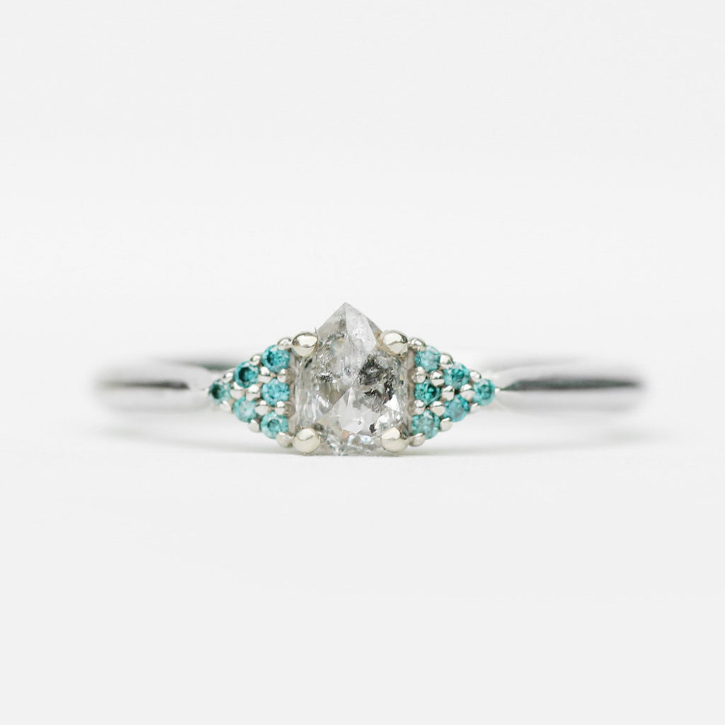 Imogene with Deep Sea Green Blue Sapphire and White Diamonds in 14k White Gold - Ready to size and ship