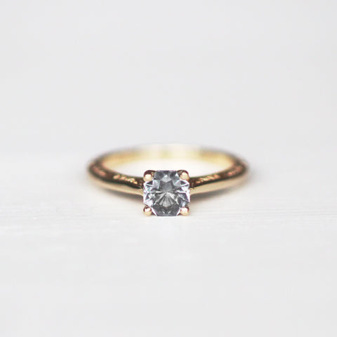Vivienne with Octagonal Spinel in Pale Gray Blue in 10k Yellow Gold - Ready to size and ship