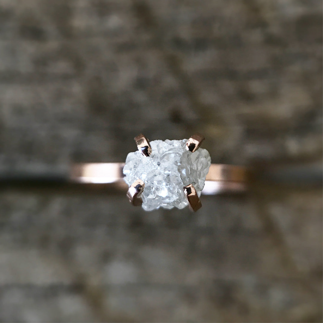 Rough Diamond Solitaire Ring - Gold / Sterling - Ethically Sourced - Salt & Pepper Celestial Diamond Engagement Rings and Wedding Bands  by Midwinter Co.
