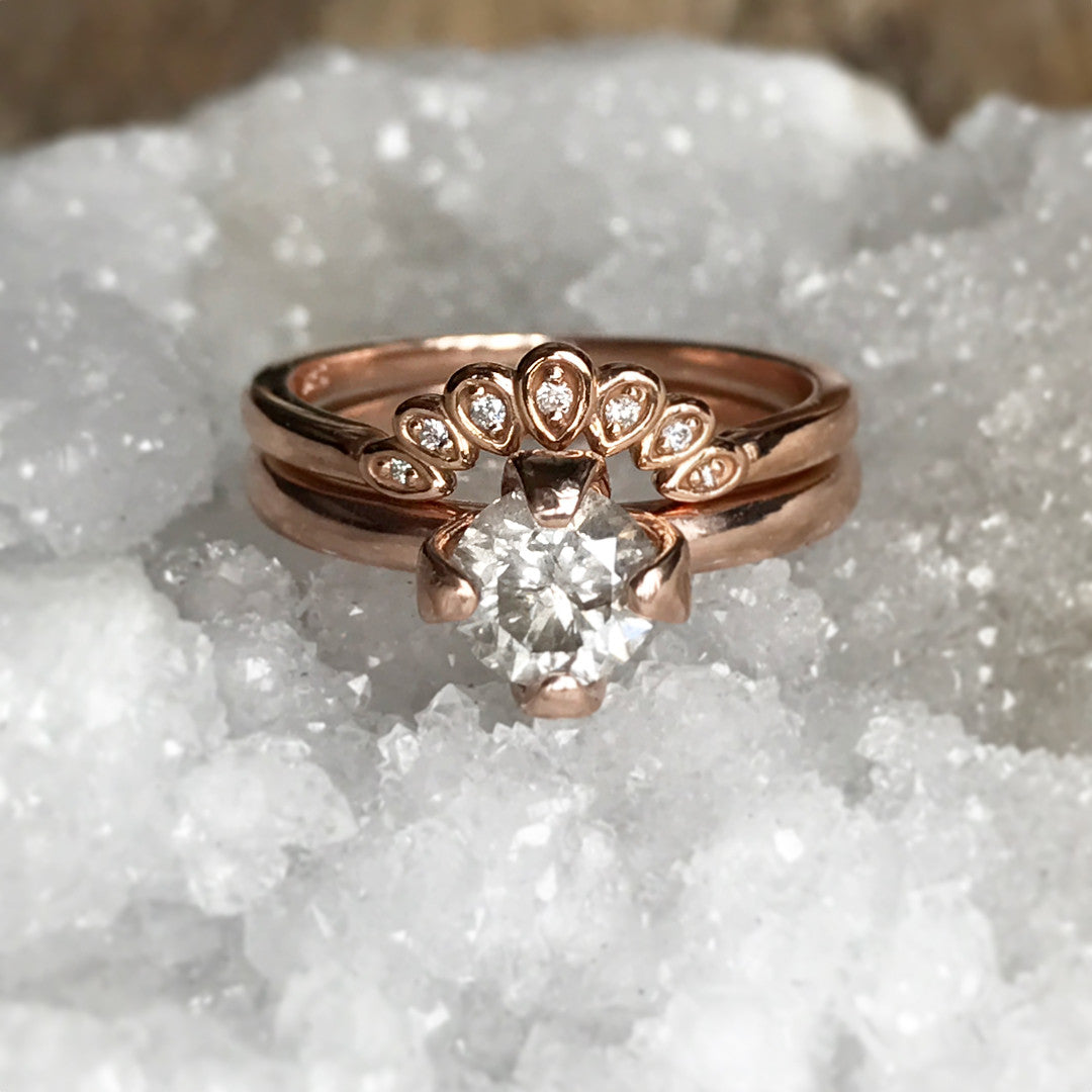 Flora - Curved antique style diamond band - Salt & Pepper Celestial Diamond Engagement Rings and Wedding Bands  by Midwinter Co.