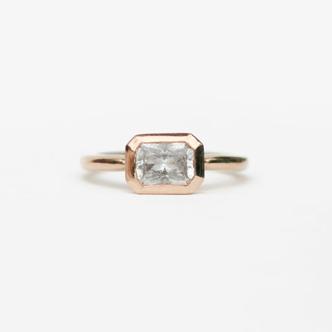 Josephine - Natural Gray Sapphire bezel set ring in 10k rose gold, ready to size and ship