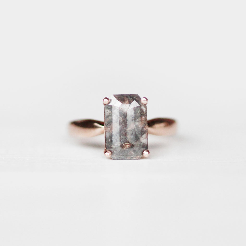 Classic Setting with Celestial Misty Gray Emerald Cut Diamond 10k Rose Gold - Ready to size and ship