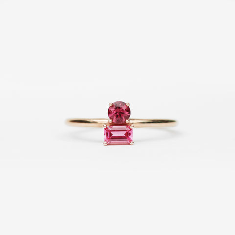 Daria Garnet and Spinel Asymmetrical Double Ring - Your choice of metal - Custom