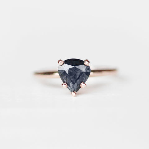 Classic Setting with Prussian Blue Spinel 10k Rose Gold - Ready to size and ship