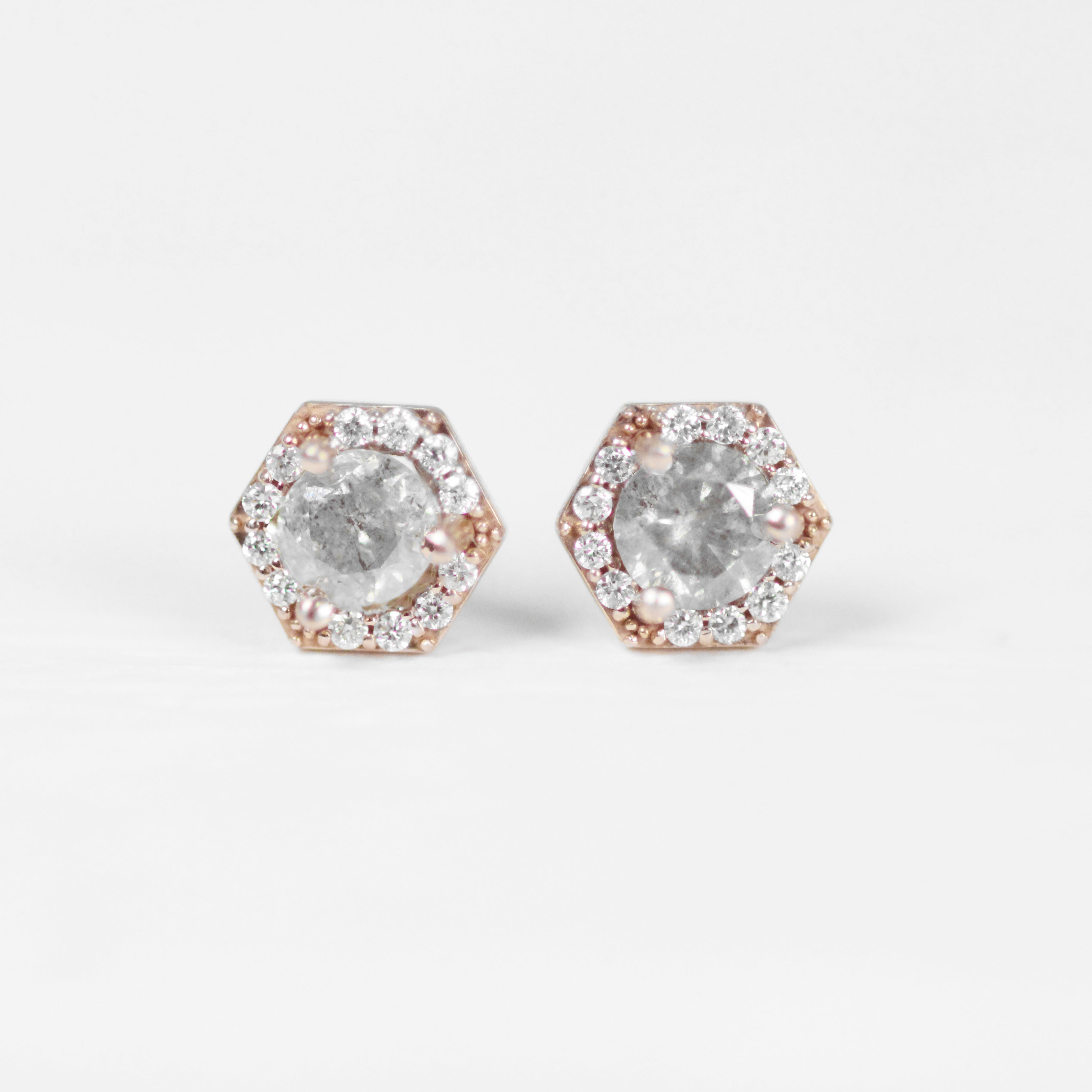 .35 Carat Hexagon Halo Earrings Stud Pair with Light Gray Celestial Diamonds in 14k gold- Ready to Ship - Celestial Diamonds ® by Midwinter Co.