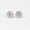 .35 Carat Hexagon Halo Earrings Stud Pair with Light Gray Celestial Diamonds in 14k Rose Gold - One of a kind, ready to ship