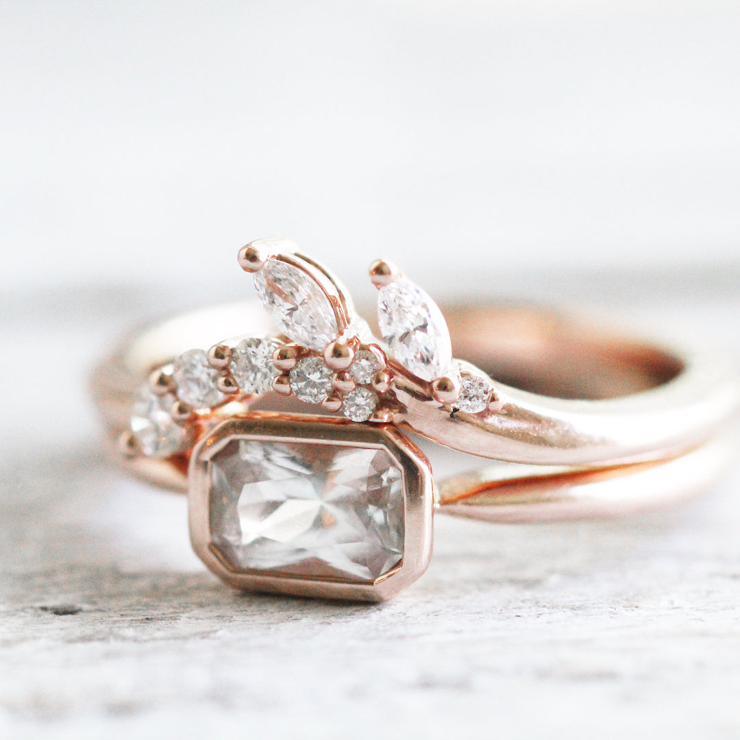 Clarissa - Curved antique style diamond band - Celestial Diamonds ® by Midwinter Co.