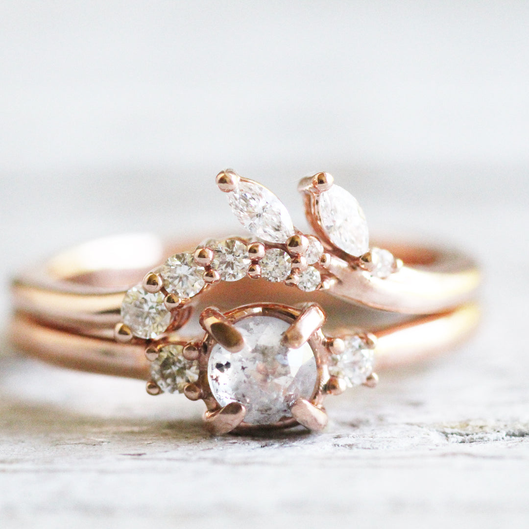 Clarissa - Floral contour wedding stacking diamond band - Salt & Pepper Celestial Diamond Engagement Rings and Wedding Bands  by Midwinter Co.